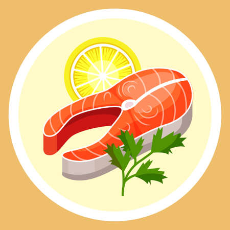 Steak of red fish on plate. Garnish slice of lemon with greens. Delicious, refined and nutritious food for breakfast, lunch and dinner. European cuisine salmon fish traditional dish food. Useful food 向量圖像