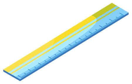 Yellow and blue ruler vector, isolated icon of device for measuring object for precision. Item decorated with dots, made of plastic material school supply. Back to school concept. Flat cartoon 일러스트