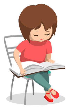 Student reading book vector, isolated female character small kid pupil with textbook. Back to school concept, attentive girl with printed material for lessons, flat cartoon of child sitting on chair