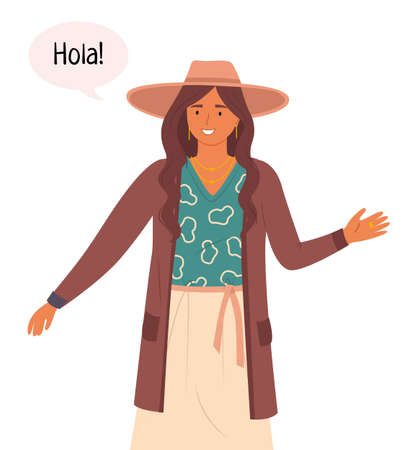 A young smiling Hispanic girl in national dress says Hello. Spanish woman welcomes in their native language. Cultural and linguistic differences. Spain, Chile, Latin America woman. Flat image