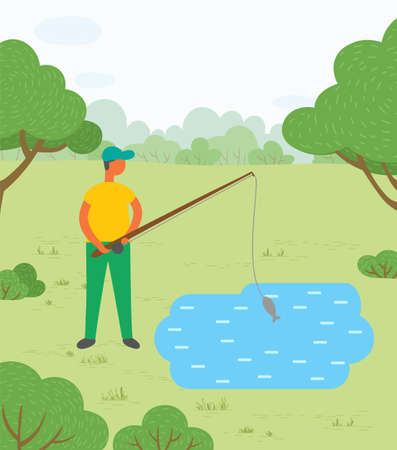 Man standing near lake or pond with rod. Person fishing on mere and just caught fish called carp. Male doing hobby outdoor. Beautiful landscape of park on background. Vector illustration in flat style Vetores