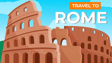 Traveling to Rome. Italian vacation. Journey and travel abroad. The Colosseum or the arena. A Mediterranean country with a warm climate. Coliseum in Rome. Gladiator fights. Flat illustration
