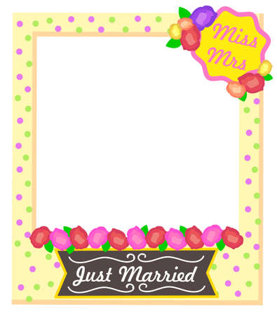 Miss and Mrs, just married cute colorful photo frame template with polka dot pattern and flowers. Festive decoration element. Wedding photozone accessories design concept vector illustration