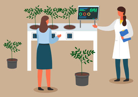 Female scientists are examining plant samples. Chemically Nitrate Test. Urban agriculture and gardening. Charts and diagrams. Scientists carry experiments in the laboratory.