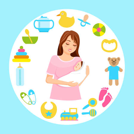 Mother holds newborn baby in her arms, surrounded by items of childrens toys, dishes. Baby supplies for newborns. Motherhood and infancy. Caring for a baby.