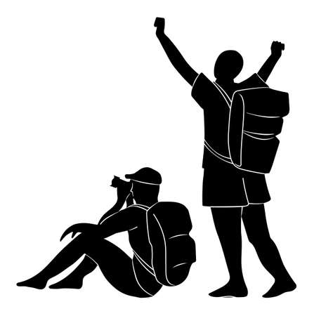 Silhouette of a man sitting with a camera and a person with a backpack raising his hands up isolated on white background. Photographer with a backpack on his shoulders is siting and taking a photo 向量圖像