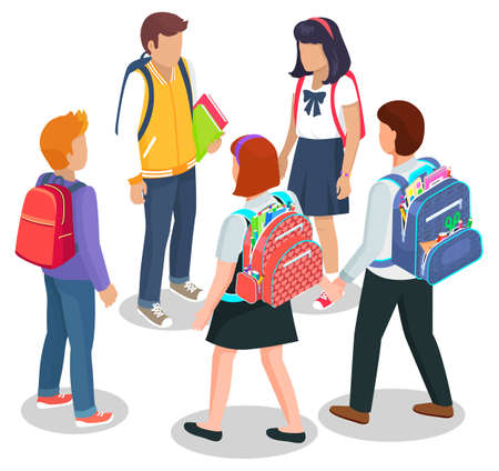 Schoolchildren stand together and talk. Kids in uniform with schoolbags and books. Backpacks inside with supplies vector isolated on white. Back to school concept. Flat cartoon isometric 3d  イラスト・ベクター素材