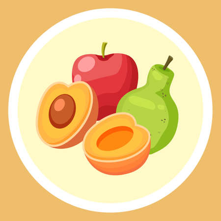 Natural fresh fruits in circle. Red apple, green pear, cutted apricot. Sweet dessert. Organic products for fruit salad. Healthy eating, keeping diet. Summer fruits. Colorful web icon in cartoon style