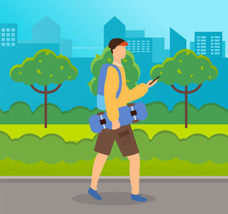 Teenager in city park. Guy holding board on wheels looking at smartphone walking down the streett. Boy with skateboard and backpack, going for a walk communicates with phone summer sunny weather Ilustração