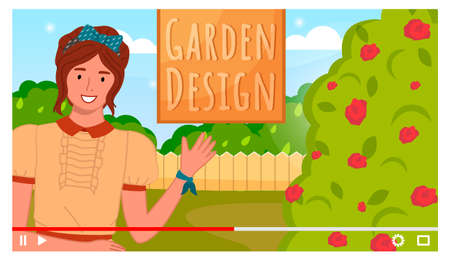 Vector video player interface. Screensaver of video tutorial for internet or vlog or social networks with landscape designe. Gardening blog. Shooting online interview with blogger or content creator