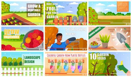 Garden vlog concept of vector video player interface. Set of video garden vlog tutorials for landscape design, ideas, colorful plastic bottles like a greenhouse. Screensaver education at distance