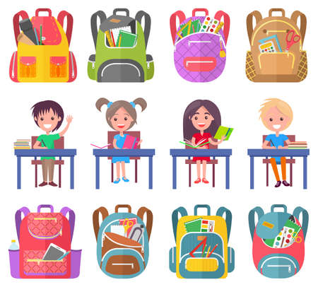 Smiling classmates sitting at desktop with notebook, backpack sticker on white. Girl and boy studying, pen and pencil in school bag, education sign vector. Back to school concept. Flat cartoon  イラスト・ベクター素材