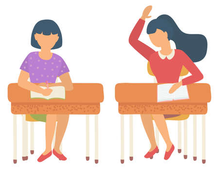 Female characters students sitting by desks vector, isolated schoolgirl answering question and raising hand. Girl writing composition in notebook flat. Back to school concept. Flat cartoon