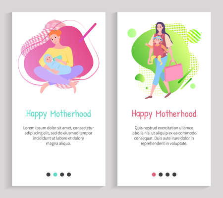 Mother feeding newborn, parent walking with child sitting in bag, portrait view of woman character with baby, mom caring, happy motherhood vector. Website or slider app, landing page flat style Ilustracja