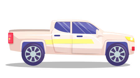 White car vector template on white background. American pickup with big boot. Automobile side view flat style. Vehicle with tinted windows. Convenient mean of transportation, modern model of car Vektoros illusztráció