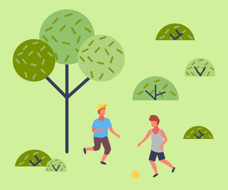 Illustration of the two boys playing soccer near the park. The best summer child s outdoor activities. Active family weekend outdoors children s games. Kids football on the grass, team ball game