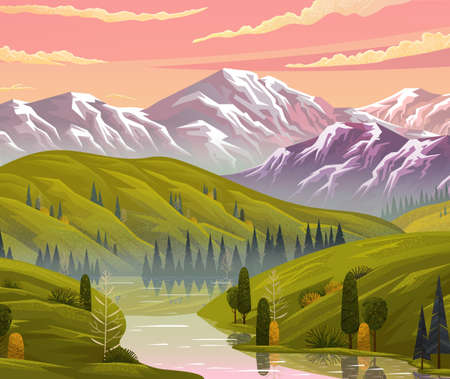 Beautiful evening landscape with pink clouded sky and mountains. View at evening summer scenery with river, hills, trees, mountains. Nature reflects in water. Nobody around. Beautiful nature scene