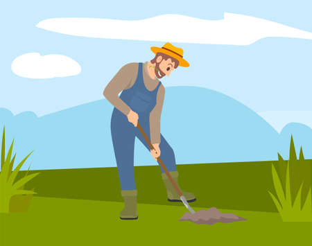 Man with shovel digging a hole illustration. Man digs a hole in the ground for planting trees. A worker holding a shovel. Farmer works in the field, digs up the crop. Autumn harvest, farm work Ilustración de vector