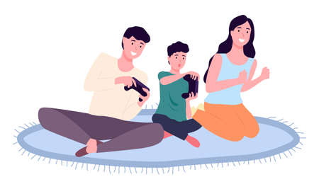 Family playing video games. Mom dad and son gaming with gamepad controller, holding joystick in hands flat design. People siting on the floor in front of the monitor and playing a computer game