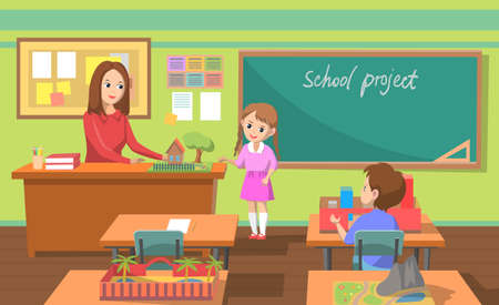 School project presentation. Kids talking on school projects, handmade items of kids. Education and creative skills improvement teacher and pupils blackboard in classroom, back to school. Flat cartoon