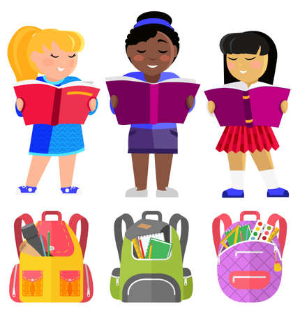 Girls pupils afroamerican, european and asian with books and schoolbags, school students. Reading class, girls with textbooks, backpacks or rucksacks with supplies. Back to school. Flat cartoon