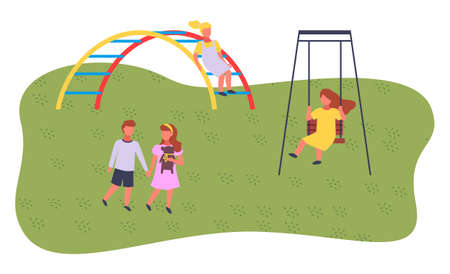Children spending time at playground, kindergarten. Kids have fun, recreation outdoors at summer. Girl rest on swing. Boy and girl with teddy bear holding hands, walking. Girl climbing at arch ladder