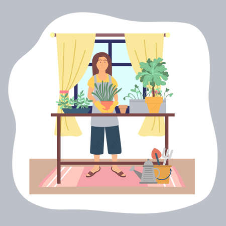 Woman transplanting plants at home. Girl in rubbery gloves enjoy gardening, holding pot with green plant. Female caring for house plants. Hobby, everyday activities. Table with collection of plants