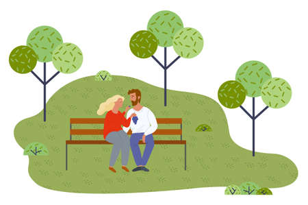 Young couple relaxing at bench in park, girl holding grape, feeding boyfriend with berries. Happy in love people spending time together outdoors at nature. In love man and woman have light picnic 向量圖像