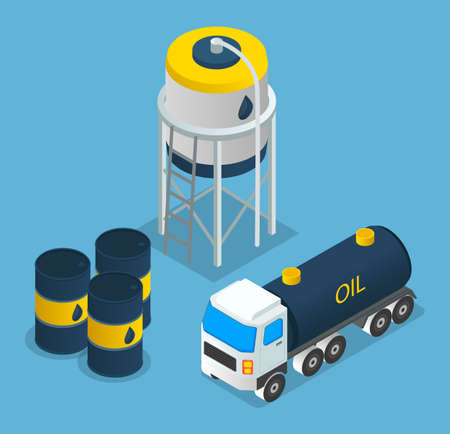 Oil petroleum industry, oil depot, barrels with oil products, oil transportation, isometric industrial symbols. Making petroleum, for different purposes. Petroleum storage. Industrial oil petroleum
