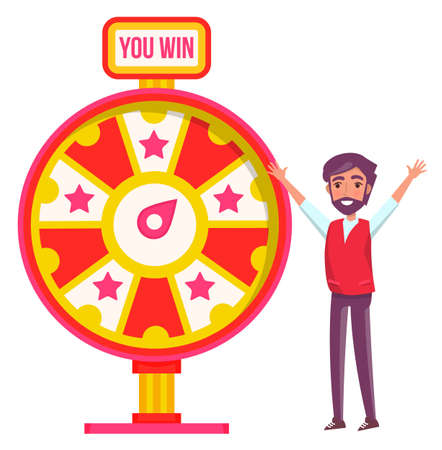 Game fortune wheel concept. Man playing risk game with fortune wheel and lottery. Casino and gambling vector. Illustration of casino fortune, wheel winner game. Man won, joyfully raised his hands up