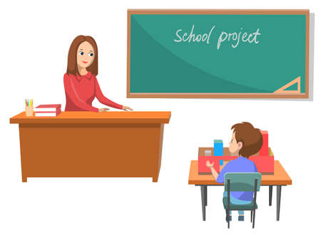 Classroom with teacher and boy vector, room with blackboard and project inscription. Tutor sitting by table asking pupil material of lesson, back to school concept. Flat cartoon