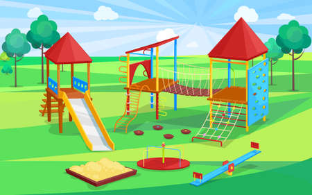 School playground, sandbox and slide, climbing wall and rope with stairs, carousel sign. Children active place, green trees, wooden equipment vector Illustration