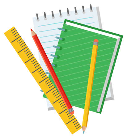 Notebook and pencil, empty paper and ruler. School objects, chancellery or education accessory, textbook sign, educational element, science vector. Back to school concept. Flat cartoon