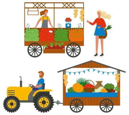 Assortment of vegetables and fruit, seller retail of harvesting products, driver on tractor. Shopper buying tomatoes, marketplace or fair, grocery vector
