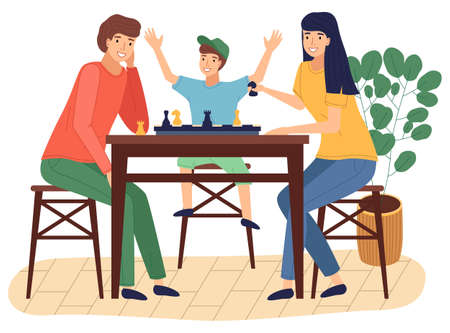 Chess game happy family spend time at home. People playing chess, happy smiling. Mother, father son together at home playing table game. Indoors home activity, hobby. Relationships of parents and kids