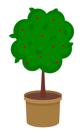 Isolated green tree growing in pot with soil. Tree with red flowers isolated at white background. Growing decorative tree with soil raster. Decoration for garden, home. Icon for website, mobile app