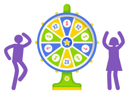 Game fortune wheel concept. People playing risk game with fortune wheel and lottery. Illustration of casino fortune, wheel winner game, flat style. Man and woman won, joyfully raised their hands up Illusztráció