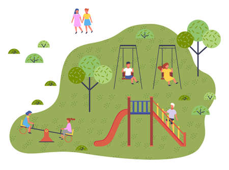 Children spending time at playground, kindergarten. Kids have fun, recreation outdoors at summer. Girl and boy rest on swing. Two girls friends at up-and-down carousel. Boy play at slide. Free time Ilustracja
