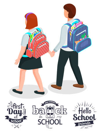 First day after back to best school. Schoolfriends walking to class together and hold thier hands. Bagpacks with study supplies vector illustration  イラスト・ベクター素材