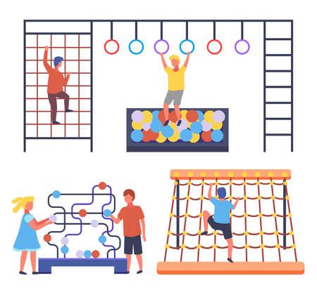 Children playing at playground. Boys climbing at rope wall, using gymnastic circles, climbing at ladder. Girl wearing dress play with boy moving balls. Kids have fun, outdoors activities, cartoon