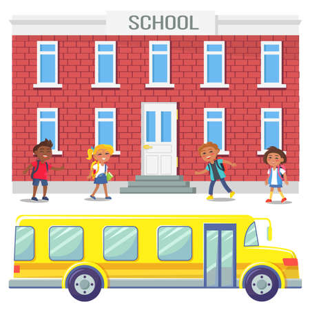 School bus and kids by building vector, educational establishment with children. Childhood, schoolboy and schoolgirl learning, kindergarten group child. Back to school concept. Flat cartoon