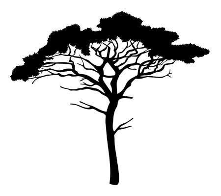 Cartoon illustration of black tree isolated at white background. Tree with crown. Nature concept. Vector emblem. Landscape interface, icon tree of wood. Flat style of organic plant