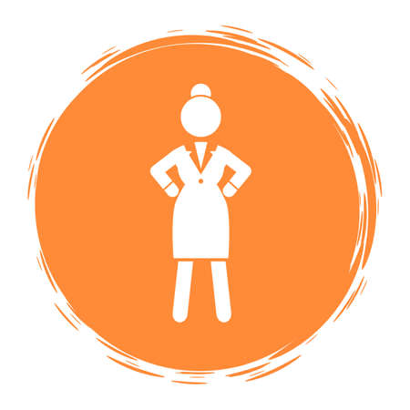Orange circle logo or portrait with businesswoman wearing office dress. Web icon, isolated female in office suit, keep dresscode. Angry irritated woman holding her hands at waist. Vector avatar
