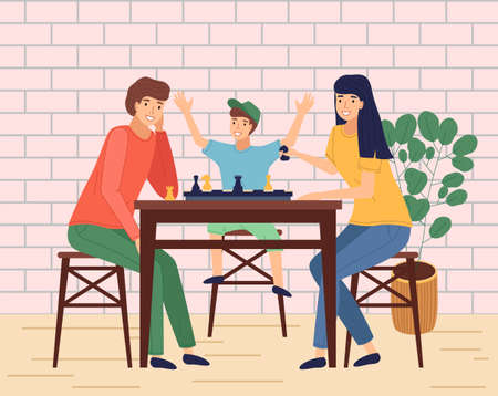 Happy family spend time at home or in cafe. People playing chess, happy smiling. Mother, father, son together at home playing table game. Indoors activity, hobby. Relationships of parents and kids Illustration