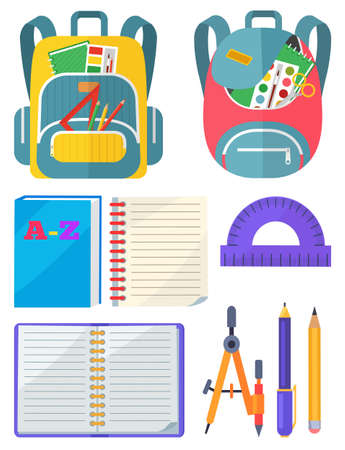 Backpack with chancellery, dividers and pen with pencil, notebook and ruler. School bag with chancery, educational element on white, sticker vector. Back to school concept. Flat cartoon Vettoriali