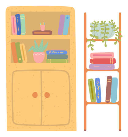 School chest of drawers vector, isolated furniture shelves with books and plants. Houseplant and files, education ad studying. Library interior flat style. Back to school concept. Flat cartoon