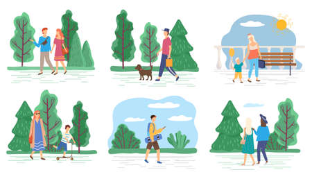 People outdoors, couple or family walking, guy with pet vector. Summer park, friends and nature, teens and children riding skateboard or kick scooter. Spending time outside, men and women illustration