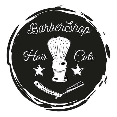 Barbershop lazor blade, shaving brush, stamp style. Black and white cirle with text hair cuts. Vintage barbershop lettering for signboard, label, sticker, poster, print, logo, advertisement, template