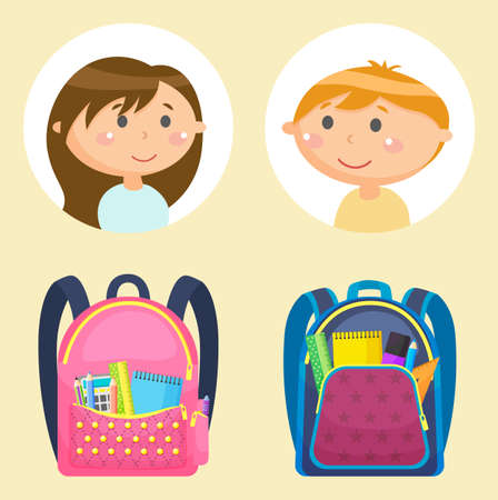 Students or pupils and schoolbags with stationery, school children avatars, girl and boy vector. Rucksacks with pen and pencil, calculator and ruler. Back to school concept. Flat cartoon  イラスト・ベクター素材