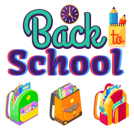 Colorful caption back school. Schoolbags with stationery as pens and pencils, notebooks and rulers, scissors and eraser vector illustration flat style